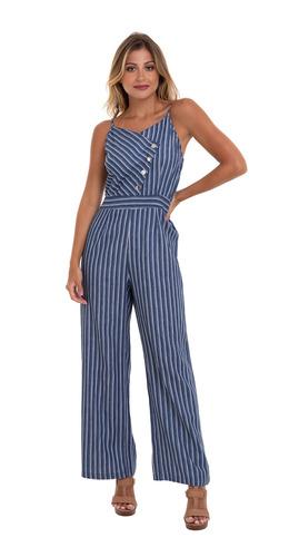 macacão jeans listras alças azul kinara