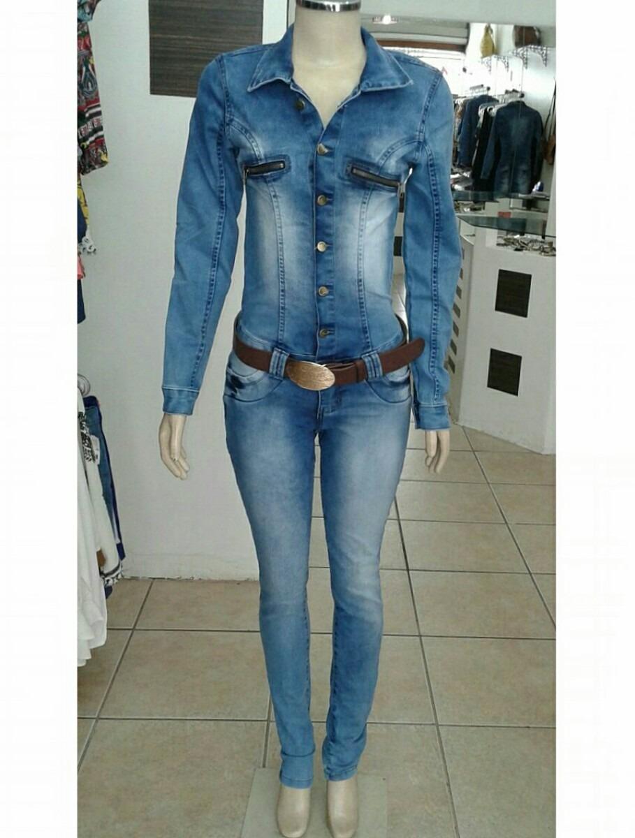 6446c529f macacão jeans manga longa c  lycra. Carregando zoom.