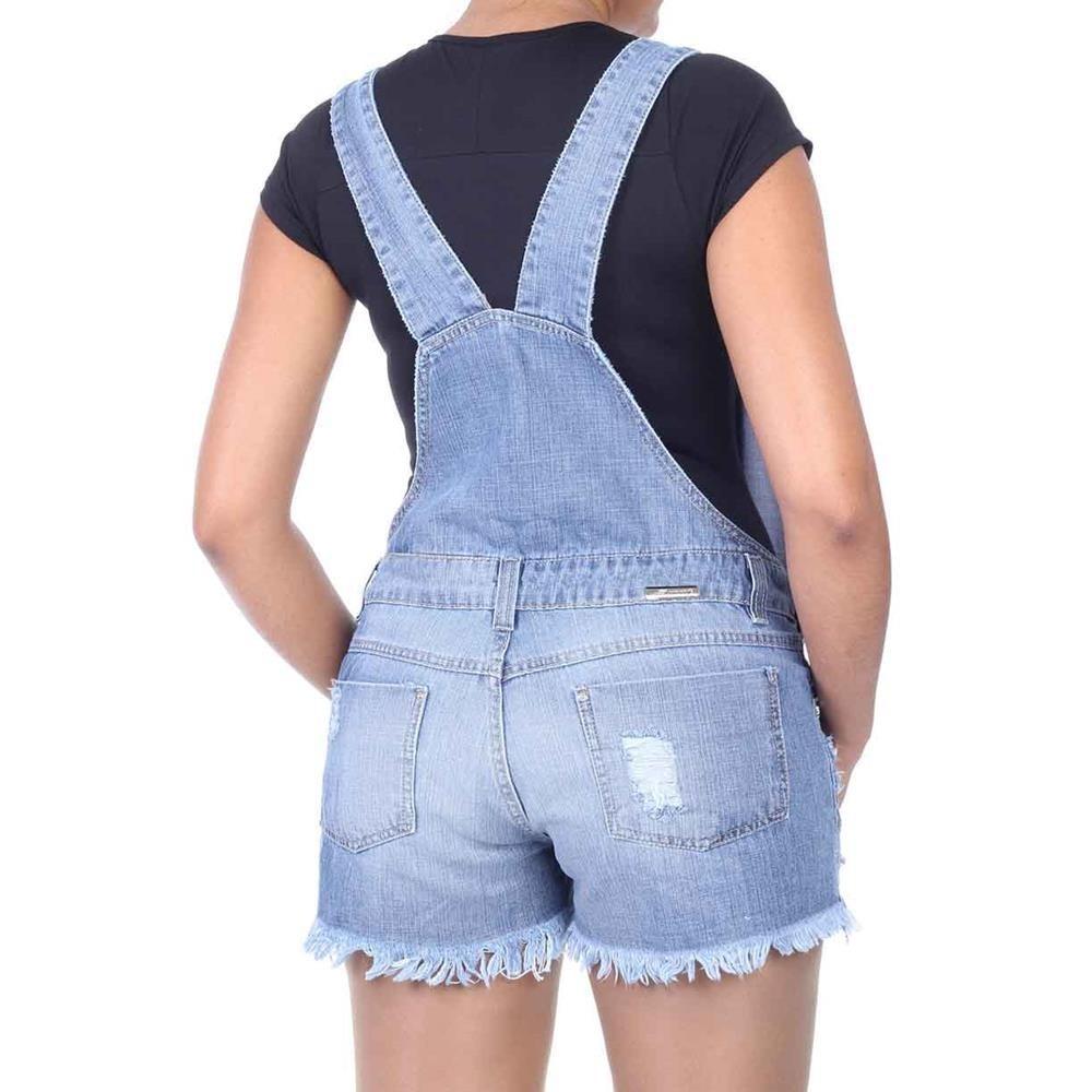 Macac o jeans modelo jardineira c bolsos e passante r for Jardineira jeans feminina c a