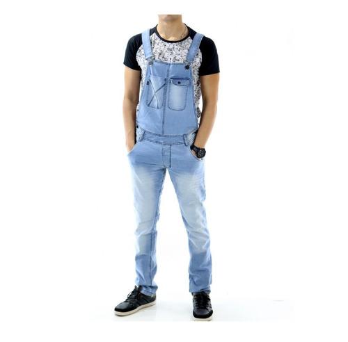 macacão jeans skinny masculino adulto juvenil importado