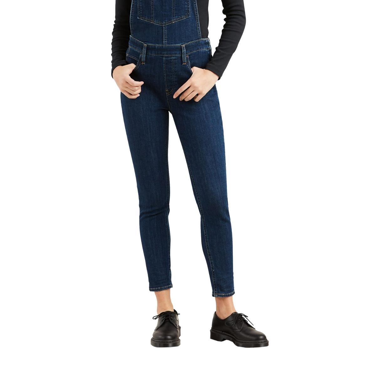 macacão levis feminino jeans skinny azul escuro. Carregando zoom. 302842a0d69