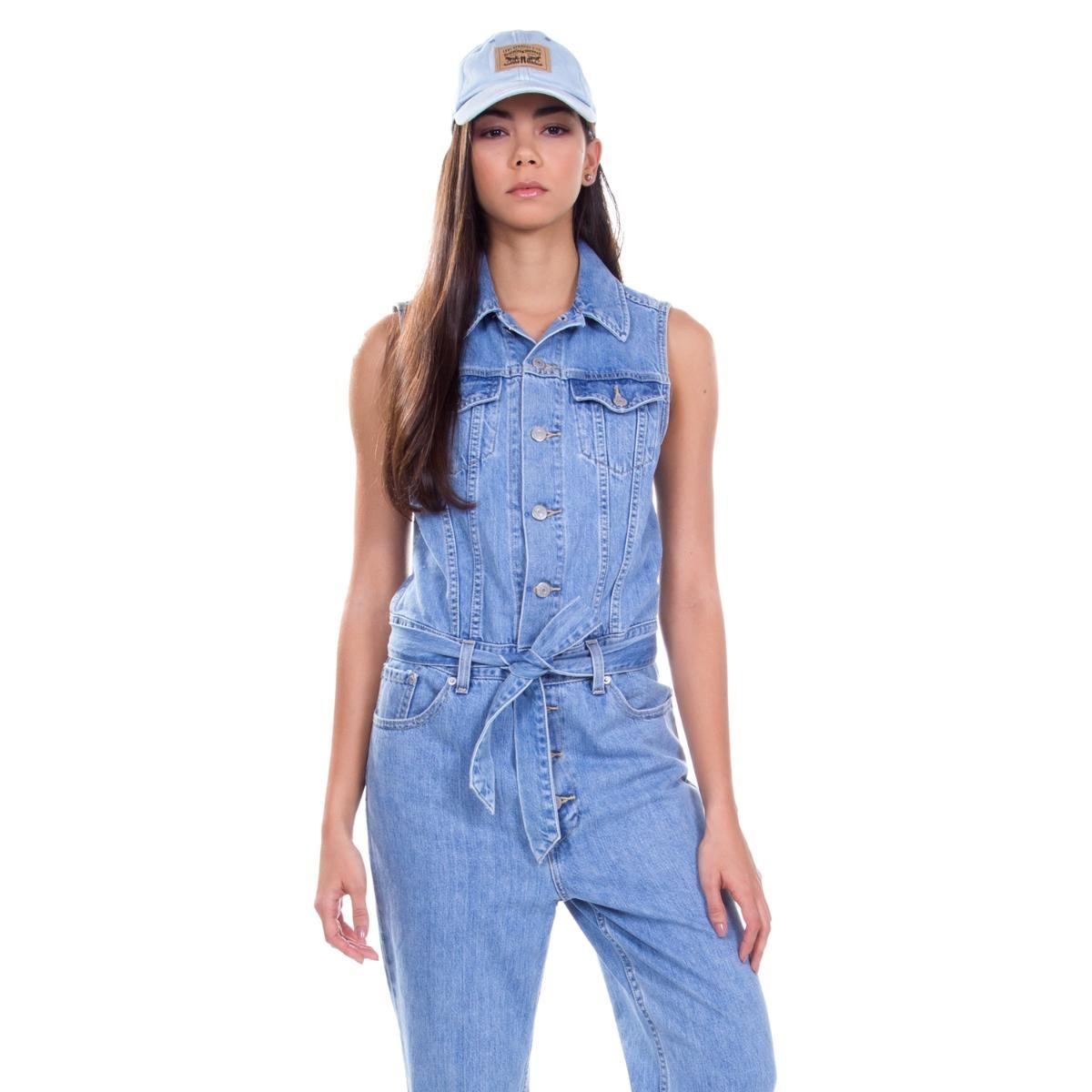 macacão levis feminino jeans taper jumpsuit azul médio. Carregando zoom. 130d2f62e62