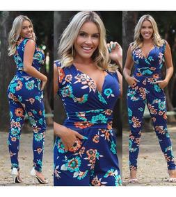 307aafacebd1f5 Macacão Longo Feminino Várias Estampas Viscolycra Verão 2019