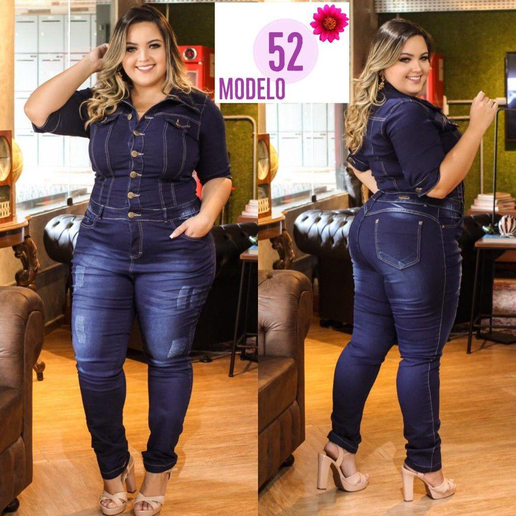 f9228e765219 macacão longo jeans plus size gordinha fashion gg ref. 1. Carregando zoom.