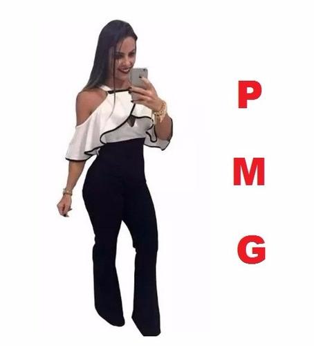 macacão macaquinho flare feminino suplex plus size babado
