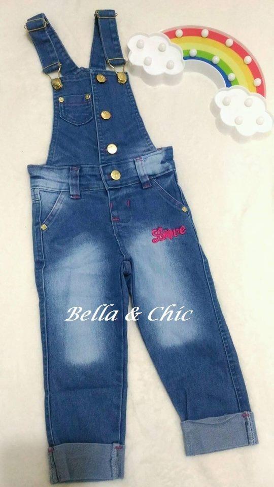 c2eb18313fda19 Macacão Macaquinho Infantil Jeans Love Menina Envio Imediato