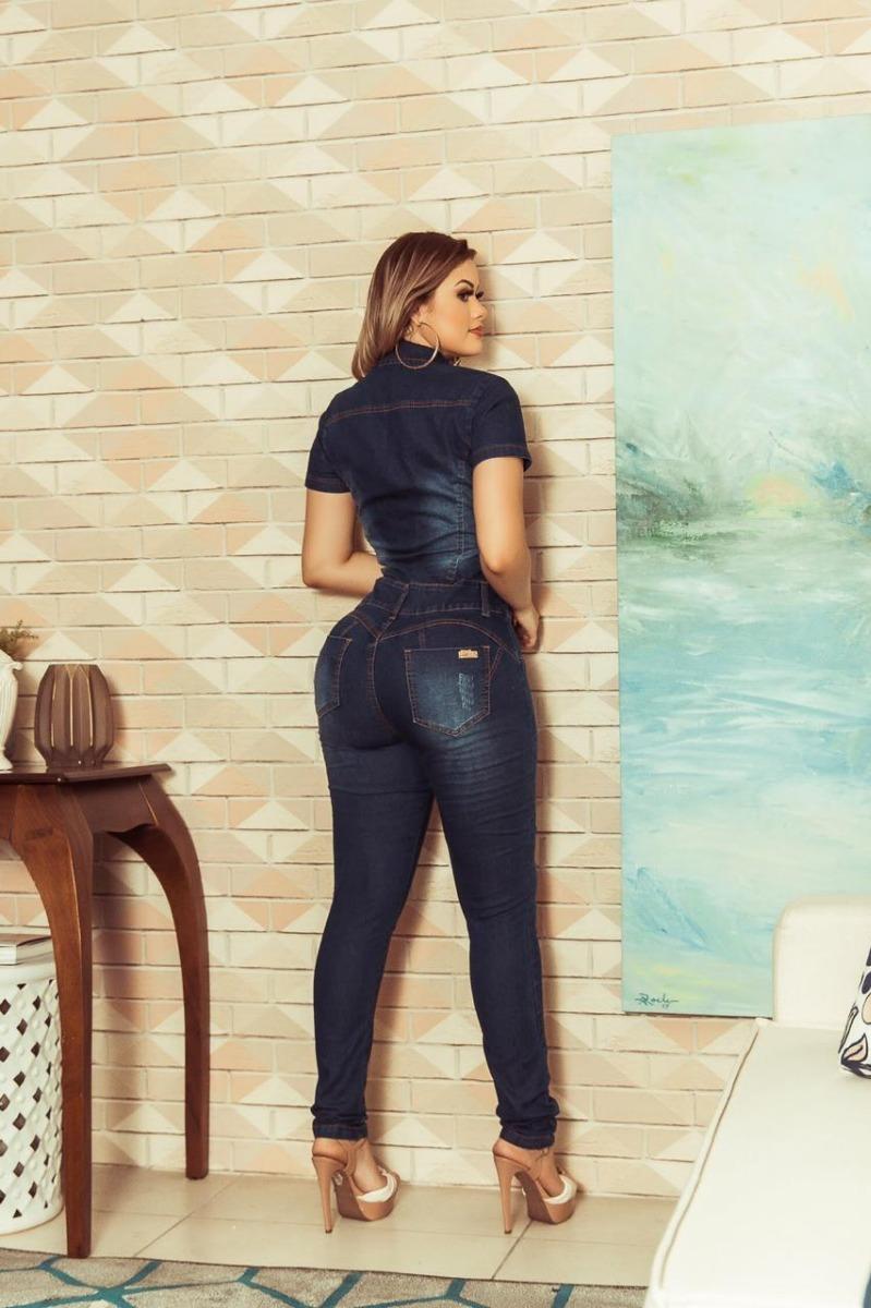 b8343339d macacão macaquinho jardineira calça jeans feminina blogueira. Carregando  zoom.