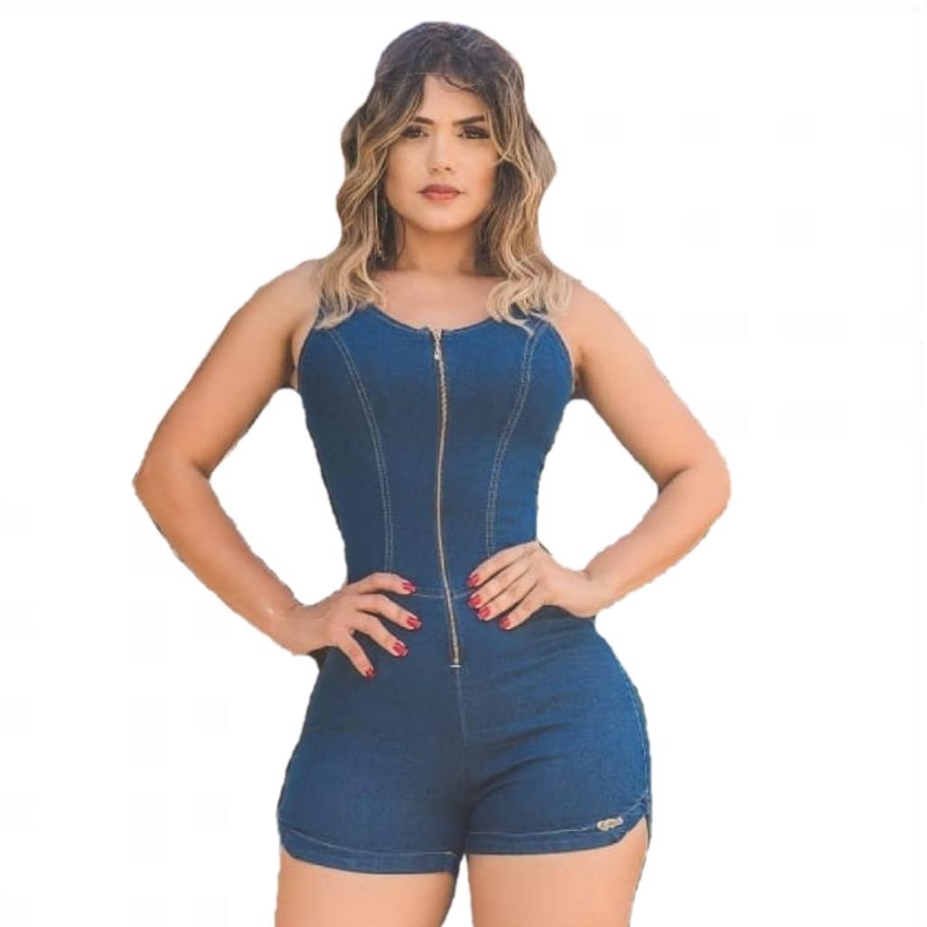 87f7f77ed8e814 Macacão Macaquinho Jeans Curto Feminino C/ Lycra Jardineira
