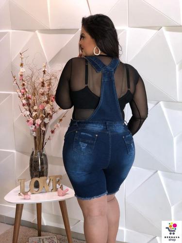 c3b9fdca7 Macacão Macaquinho Jeans Feminino Modal Plus Size Grande - R$ 132,00 ...