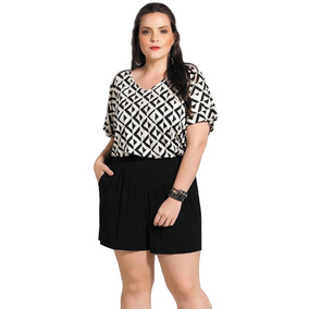 307379408 Macacão Macaquinho Plus Size Em Malha Confortável E Elegante