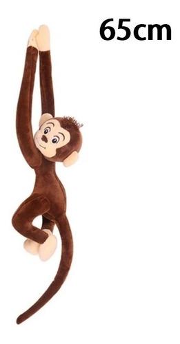 macaco marrom de pelúcia 65cm pendurado presente p/ crianças