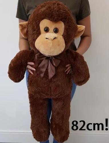 macaco marrom pelúcia grande 82cm macaquinho frete grátis