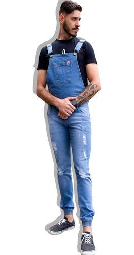 macacão masculino jeans jardineira destroyed calça jogger