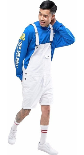 macacão masculino m02 bermuda de sarja jardineira branca