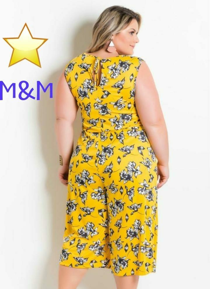 842a9ab5e macacão pantacourt plus size floral amarelo marguerite. Carregando zoom.