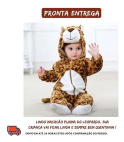 ba8744fe2902e1 Macacão Pijama Bebê Bichinho Fantasia Leopardo Infantil