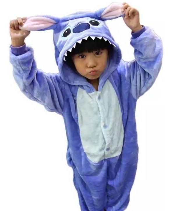 3e1ffae4dfc722 Macacão Pijama Infantil Pelúcia Fantasia Stitch Disney