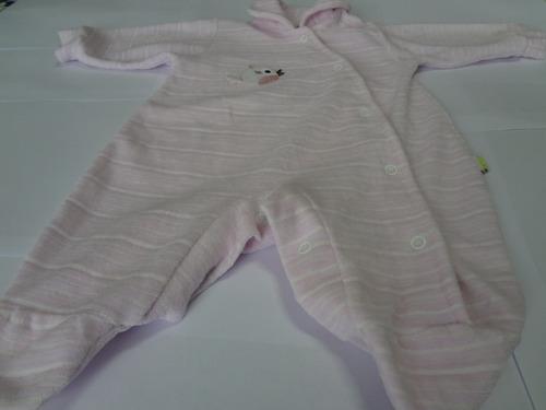 macacão plush listrado para bebê peixinho bordado - menina