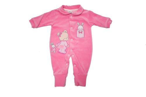 macacão plush pé reversível - baby bee-rosa-rn