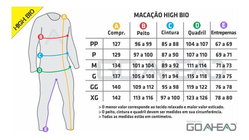 macacão segunda pele high bio go ahead para calor verão