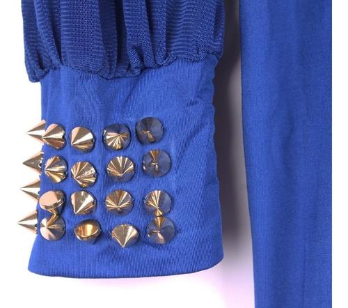 macacão sexy azul verão de poliéster e spandex importado