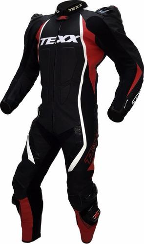 macacão texx cronos couro moto 1 peça vermelho preto 3xl 58
