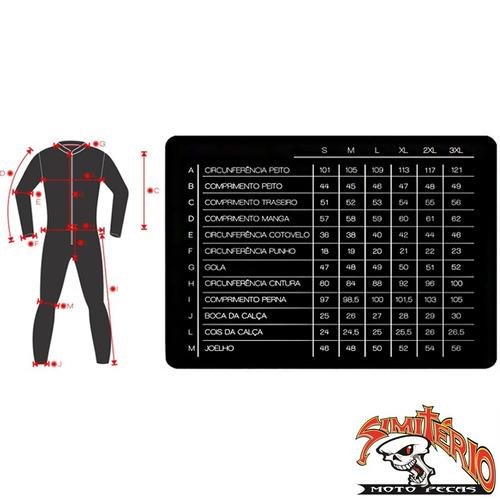 macacão texx cronos couro moto 1 peça vermelho preto 4xl 60