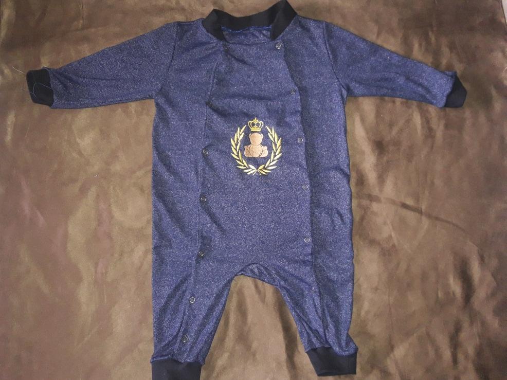 Macacão Urso Rei Bordado Azul - R  25,90 em Mercado Livre 66d70cf724