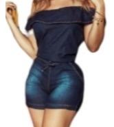 macaquinho ciganinha jeans elastano, lycra bolso frontal 40