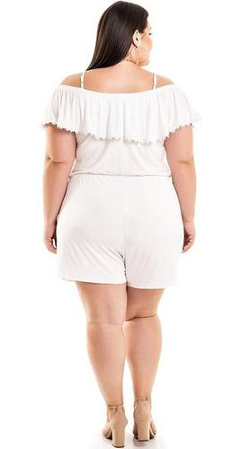 macaquinho ciganinha plus size feminino amarração na cintura