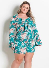 0346a54d2db6c7 Macaquinho Com Laço Floral Marguerite Plus Size