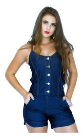 c2187e29b8eacf Macaquinho Feminino Jeans Com Botões. Ref: 713