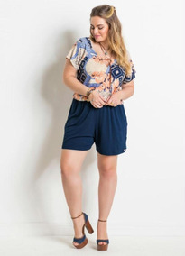 2f28bdf7f43344 Macaquinho Feminino Plus Size Azul Com Estampado Malha