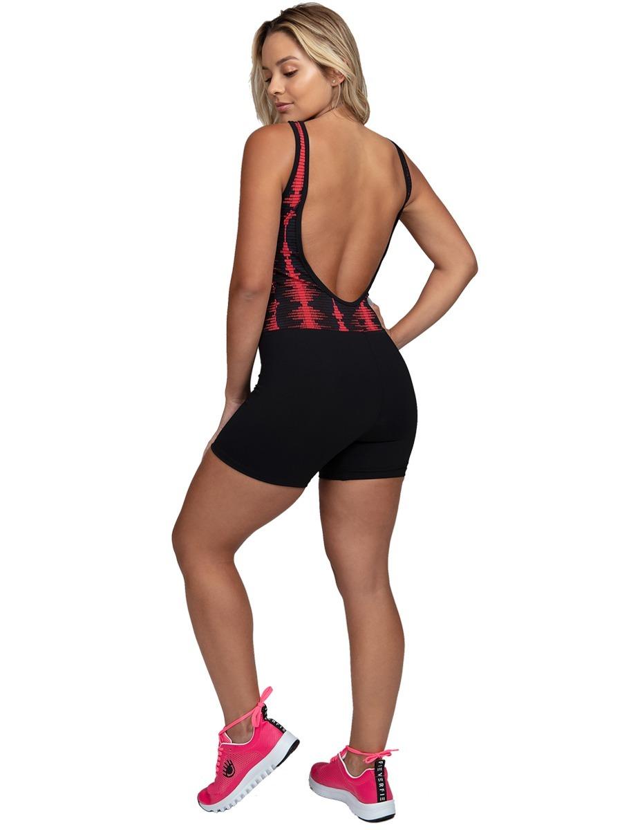 8f5700050 Macaquinho Fitness Feminino Promoção Com Tule Matrix 895 - R  85