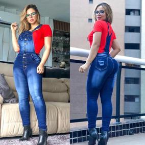 5a03c0032ed633 Macaquinho Jeans Feminina Jardineira Macacão Curto Panicat