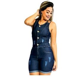 ccf55631b38e94 Macaquinho Jeans Feminino Macação Com Botões