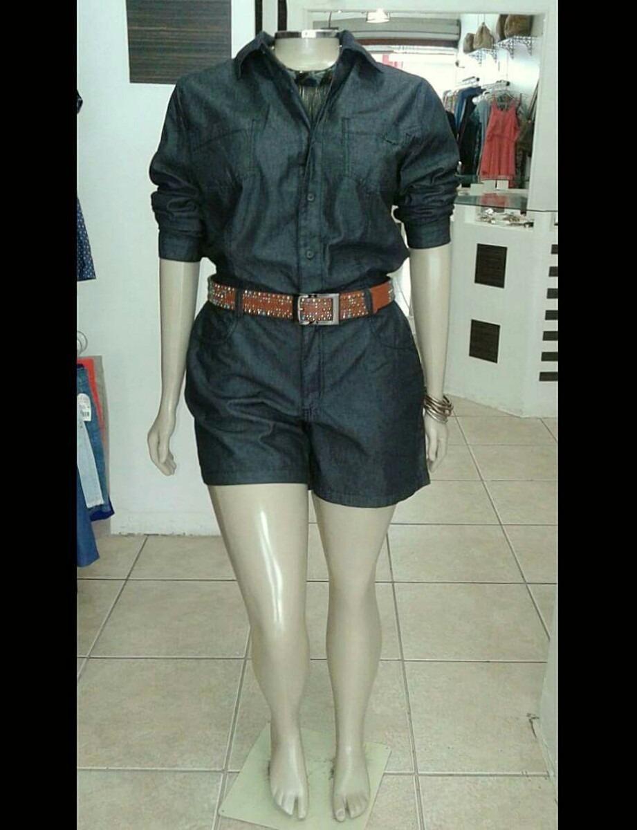 e3801e7b9 Macaquinho Jeans Plus Size tamanho Na Descrição Do Produto - R  239 ...