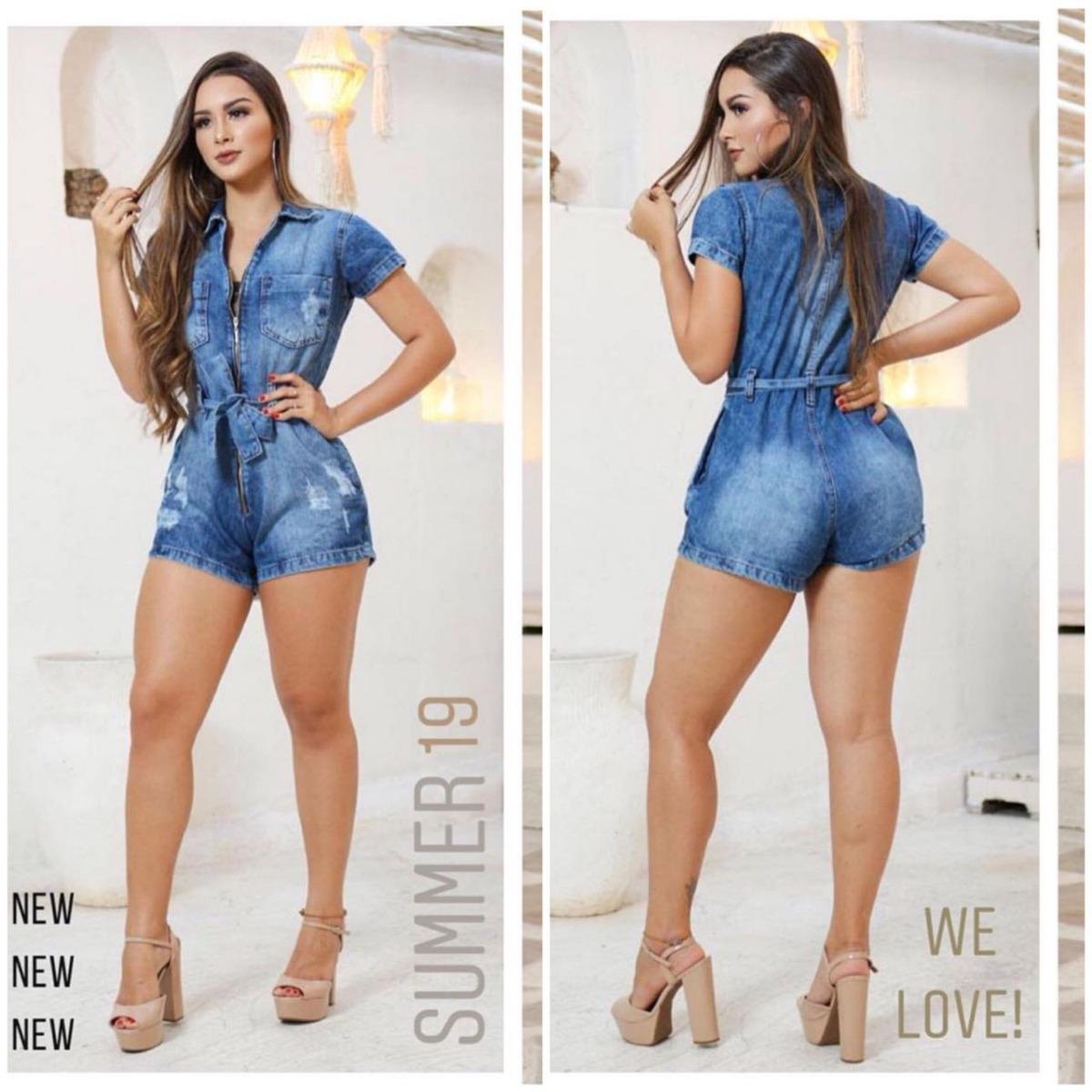 6f6e9b7e44 macaquinho macacão jeans curto feminino moda verão aviador. Carregando zoom.