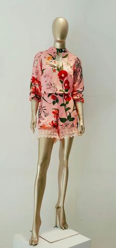 macaquinho macacão vestido manga longa barra renda