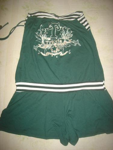 macaquinho verde e branco,malha,tomara que caia,shorts,tam p