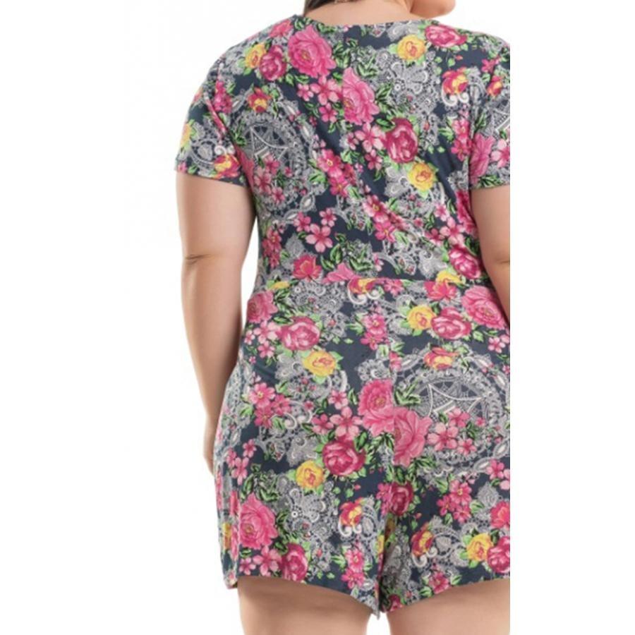 e0a5a27fd Macaquinho Viscolycra Azul Floral Miss Masy Plus Size - R$ 127,08 em ...