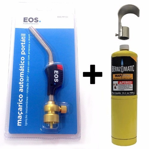 maçarico portátil  + refil gás + defletor de chamas
