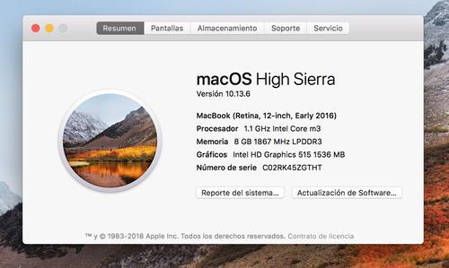 macbook (2016), 8g ram, 256 gb disco solido
