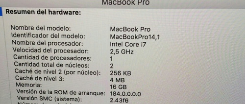 macbook pro 13' 2017 i7 16gb ssd 256