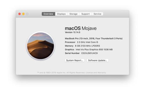 macbook pro 13  2018 quad-core i5 500gb ssd 8gb ram