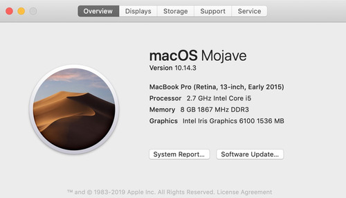 macbook pro early 2015 retina - impecable 8gb ram 128gb ssd