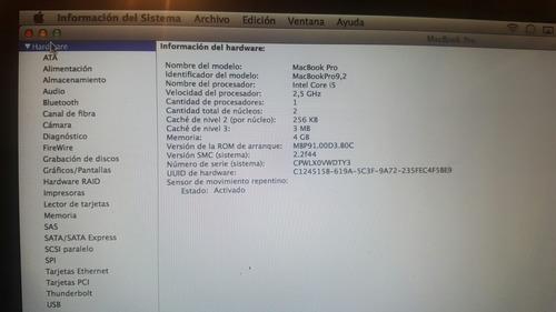macbook pro i5 año 2012