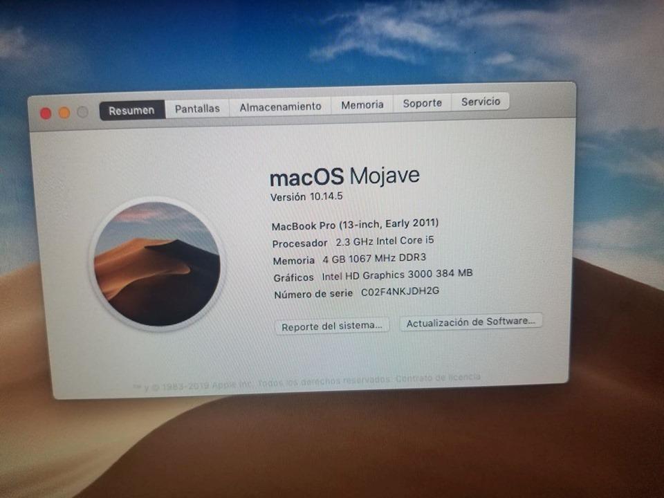 Macbook Pro Mid 2011 Mojave Corei5-4gb De Ram-320gb En Hdd