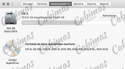 macbook pro modelo a1278 versión full 8gb ram 320 hdd i5