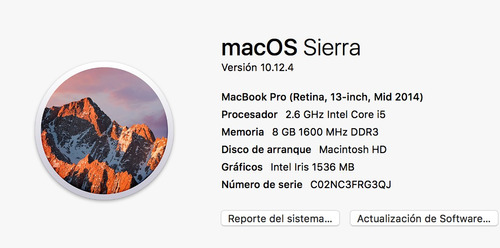macbook pro retina 13 , 8 gb, 256 ssd, i5 2.6 ghz, mid 2014